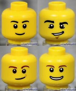 4x Male Heads Lot Yellow Face Laugh Scared Scratches Grin Tears Glasses LEGO