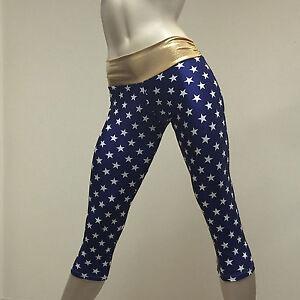 a54a35c47a99a Image is loading Wonder-Woman-SuperHero-Blue-Star-Gold-Pants-Hot-