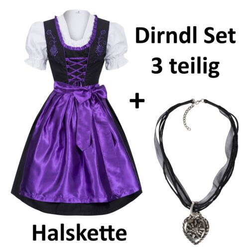 Collier Set du costumes robe 4 pièces noir avec Violet Lumineux Couleur