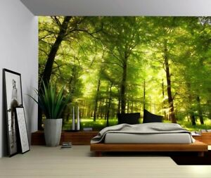 Image Is Loading Green Forest Trees Nature Large Wall Mural Removable