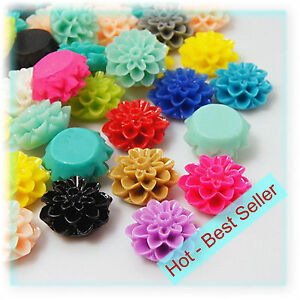 Cabochons Resin Flatback Flowers 50 Mixed Roses Retro Style 10mm x 6mm FP