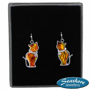 Ginger-Cat-Earrings-Orange-Paua-Abalone-Shell-Silver-Fashion-Jewellery-23mm-Drop