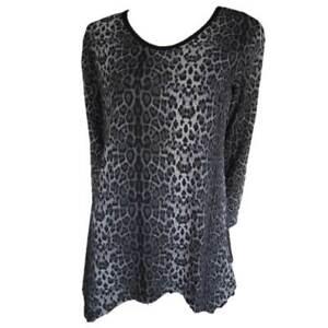 Tunic-Tops-Plus-Size-10-12-14-16-18-20-EVERSUN-Grey-Black-Dress-Leopard-Animal