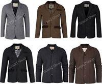Mens Blazer Brave Soul Coat Wool Mix Twill Tweed Herringbone Cord Patches Jacket