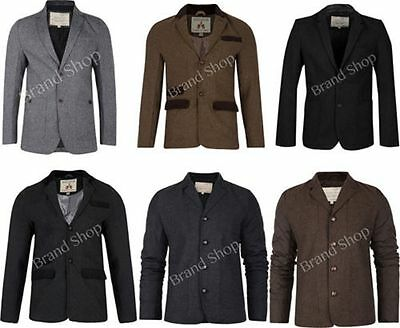 Mens Blazer Brave Soul Coat Wool Mix Twill Tweed Herringbone Cord Patches Jacket