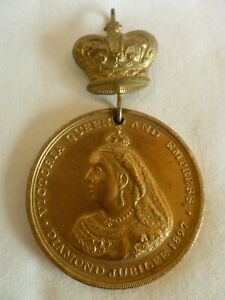 VICTORIA-QUEEN-AND-EMPRESS-DIAMOND-JUBILEE-1897-BRASS-BRONZE-MEDAL