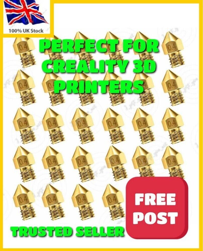 5 x 3D Printer Nozzle MK8 0.4mm CR-10 Ender 3 / Pro / V2 ,Creality ETC ..HQ