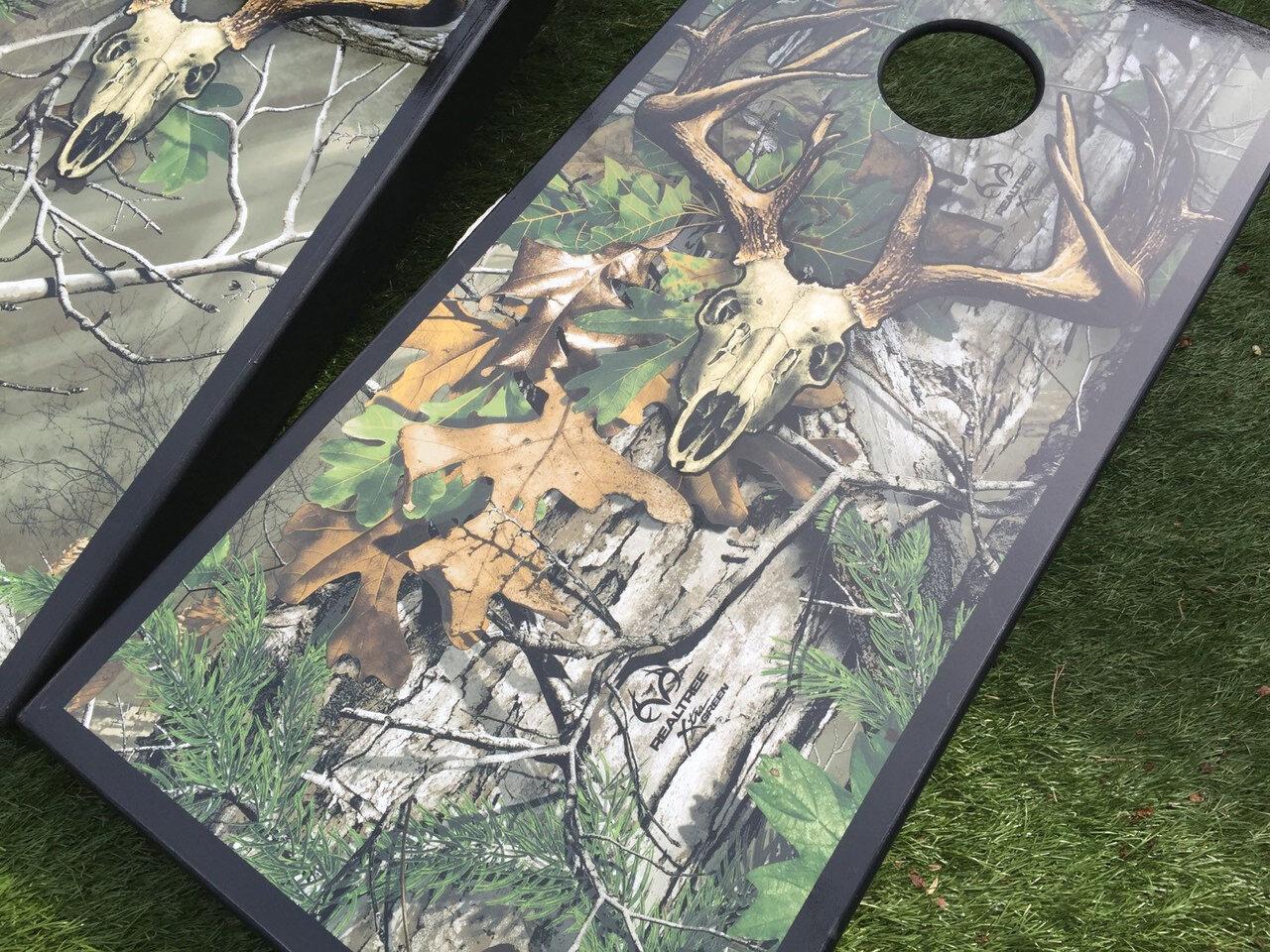Realtree EXTRA Green  Skull Camo Cornhole Boards  authentic quality