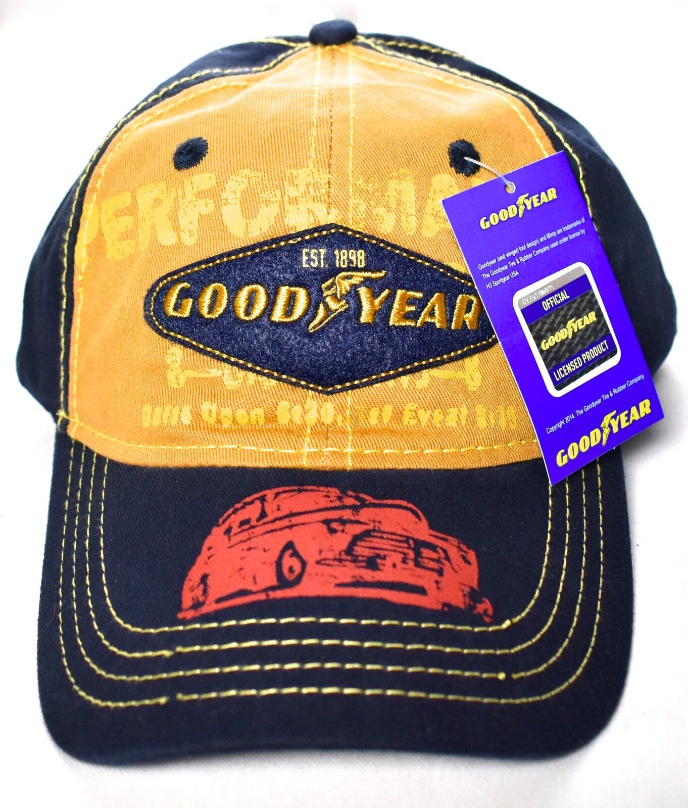 316416e89f0 Goodyear 1898 Baseball Hat cap Adjustable 100 Cotton Navy gold for ...