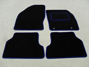 TAILORED CAR FLOOR MATS BLACK CARPET WITH BLUE TRIM FORD FOCUS 2005