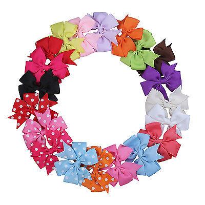 20 Pcs Girls Baby Kids Hair Bow Clip Boutique Grosgrain Ribbon Flower Headband