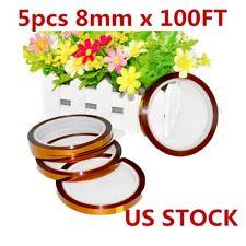 Us 5pcs 8mm X 100ft 3d Sublimation Kapton Tape Heat Resistance Proof Tape