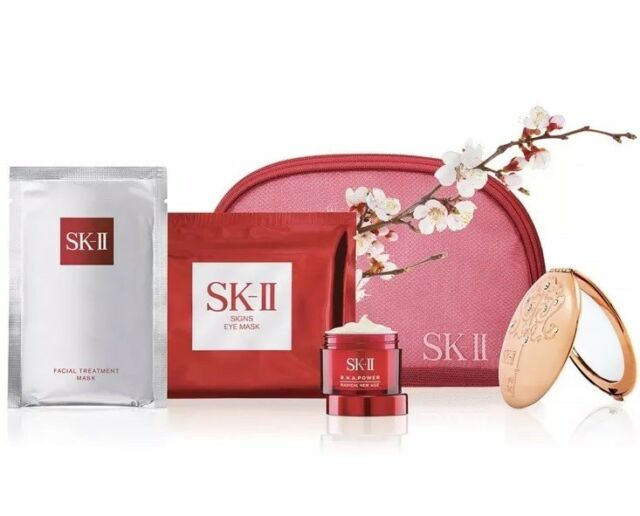 NEW SK-II Facial Treatment 5pc gift set with red cosmetic case
