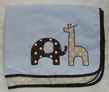 Lambs & Ivy Blue Elephant Giraffe Safari Baby Blanket Jake Brown Trim Polka Dots