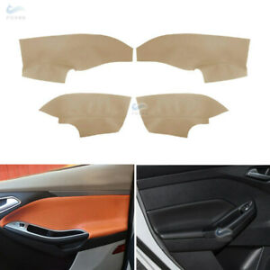 4pcs Interior Door handle Panels Armrest Leather Cover For Ford Focus 2014-2018