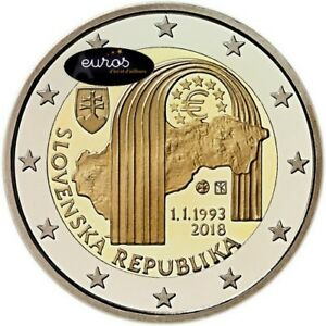 Piece-2-euros-commemorative-Slovaquie-2018-Creation-de-la-Republique-Slovaque