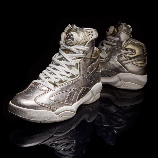 Reebok Shaq Attaq Hall Of Fame Leather Mid Sneaker CHALK FLINT GREY Size  11.5 3b145b2ba