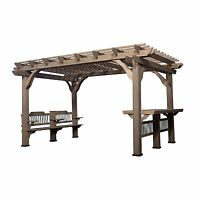 Pre-stained 100% Natural Cedar Wood Outdoor 10' X 14' Pergola W/ Bar & Bench