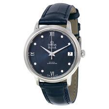 Omega De Ville Prestige Automatic Blue Diamond Dial Blue Leather Ladies Watch