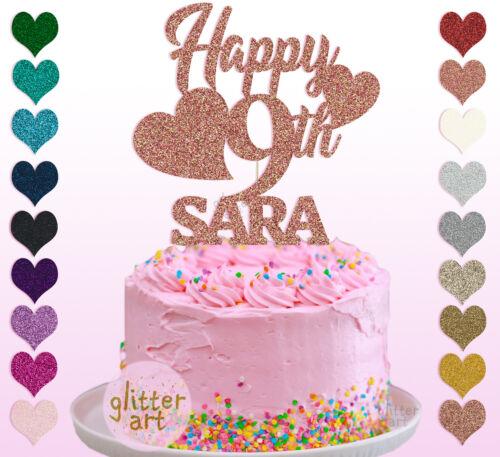 Feliz 9th Cumpleaños Personalizado Personalizado Pastel Fiesta Topper Chica Cualquier Nombre cualquier texto