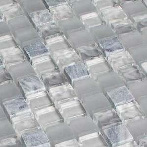 Glasmosaik Fliesen Mosaik Glass Stone Naturstein Bardiglio Grau
