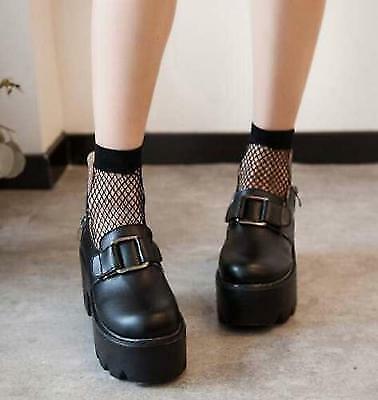 punk Gothic tokyo babylon CLAMP platform Heel shoes w// crucifix blk//w US6 6102
