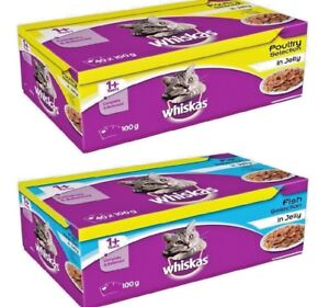WHISKAS-1-POUCHES-x2-x40-100g-Cat-Food-Jelly-Pet-Feed-Meal-bp-PawMits
