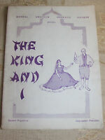 Vintage Kendal Amateur Operatic Society The King And I Programme - 1965