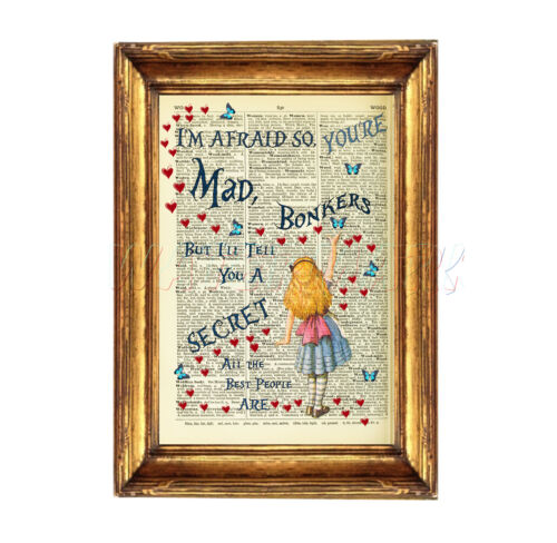 DICTIONARY PAGE ART PRINT VINTAGE ANTIQUE BOOK Alice in Wonderland Quote BONKERS