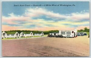 Claysville-Pennsylvania-Sam-039-s-Auto-Court-amp-Amoco-Service-Gas-Station-1940s-Linen