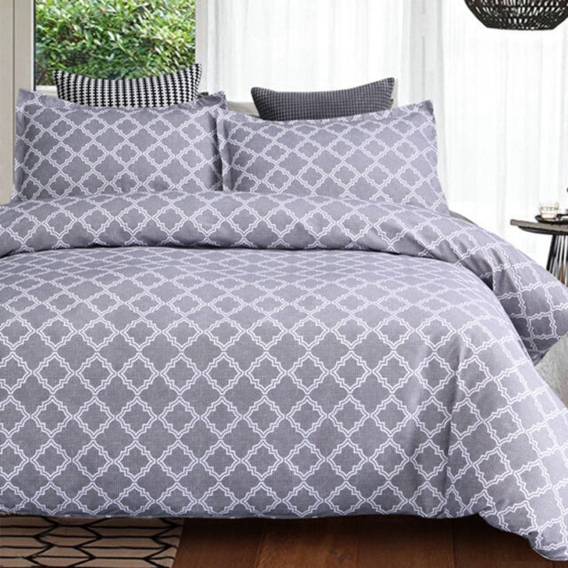 Charter Stripe 4Pc Duvet Cover with fitted sheet Polycotton Printed Bedding Set