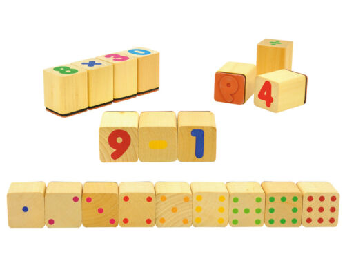 Holzstempel ZAHLEN 24 Stück Zahlenstempel Rechenstempel Augenstempel zählen NEU