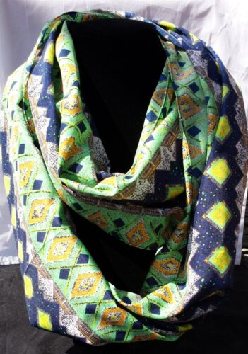 Blue// Green New Aztec Print Infinity Scarf US Seller