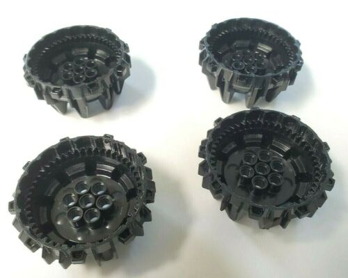 Lot of 4 New Black LEGO Wheel Hard Plastic with Small Cleats and Flanges Ninjago