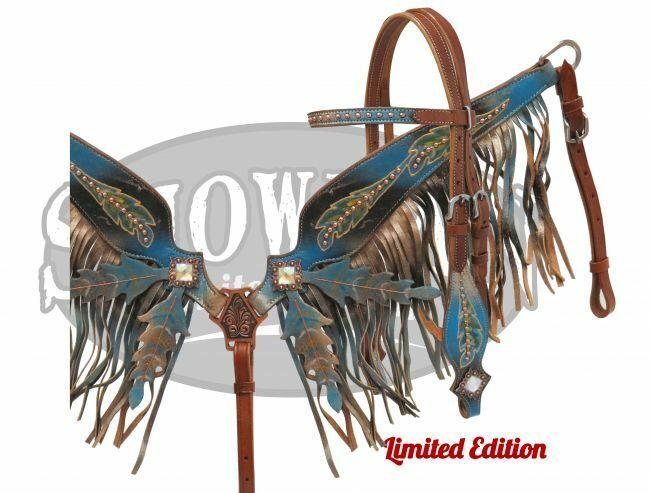 Showman Brida de plumas negro azul Fringe breastcollar rienda Set Edición Limitada