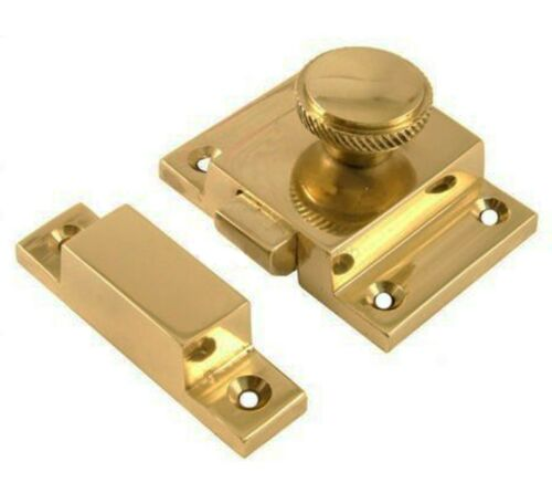 Solid Polished Brass Chest Cabinet Cupboard Catch Fastener Handle 55mm x 40mm