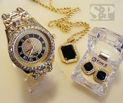 MEN HIP HOP ICED OUT GOLD RICK ROSS WATCH & ONYX NECKLACE & EARRINGS COMBO SET