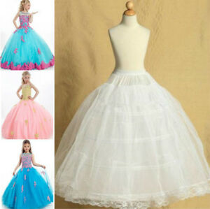 Pettiskirt-4-Hoops-Flower-Girl-Petticoat-Children-Underskirt-Slips-Kid-2-14-Year