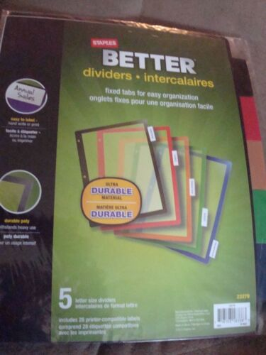 STAPLES BETTER DIVIDERS INTERCALAIRES FIXED TABS
