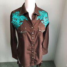 Wrangler Rock 47 Womens Medium Western Shirt Embroidered Rhinestones Snaps