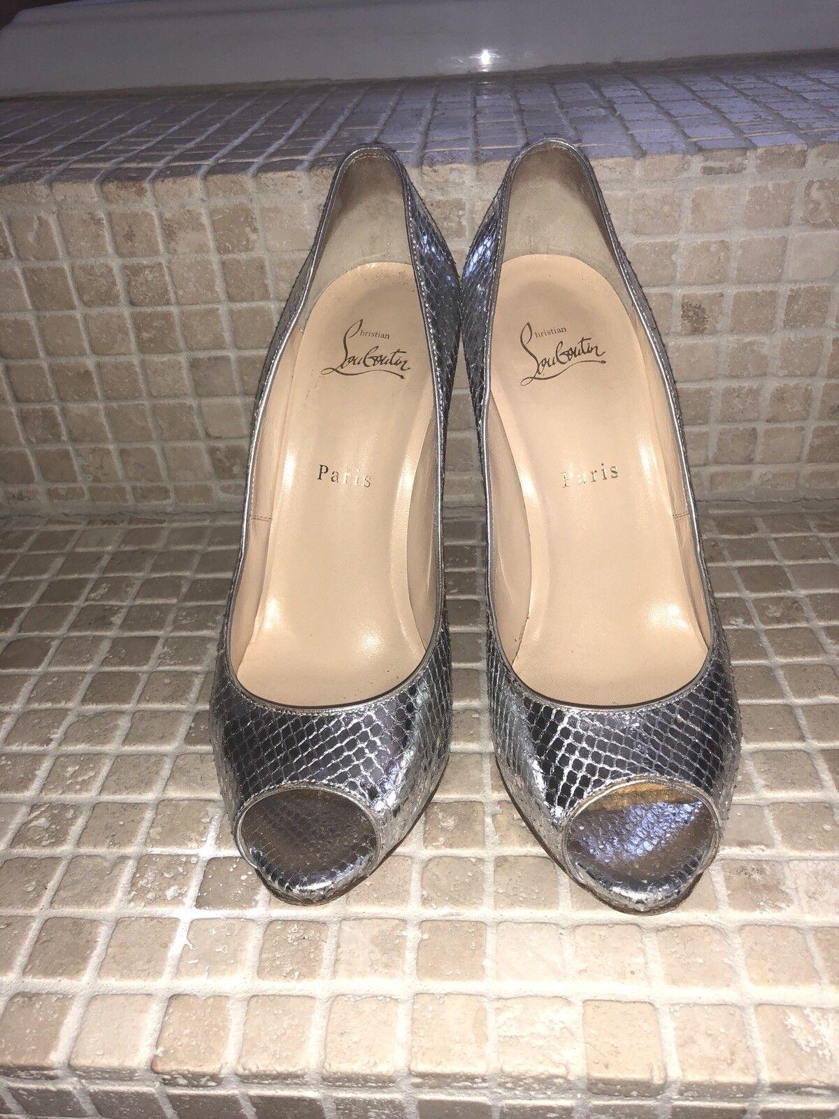 Christian louboutin  Lady Peep python snakeskin silver metallic metallic metallic shoes 9ad88c