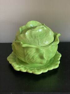 VTG 1972 Ceramic Covered Bowl Underplate Holland Mold Green Cabbage Head Design
