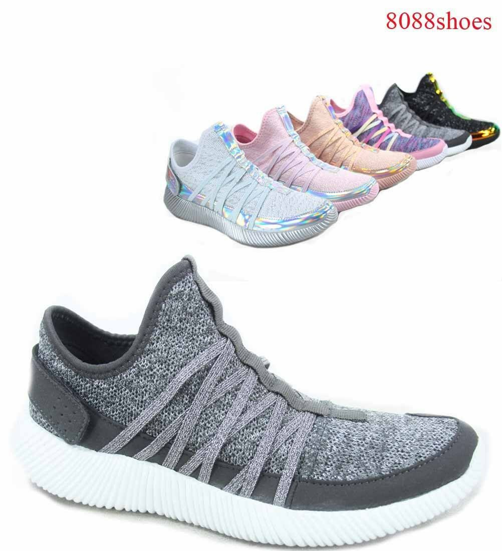 Damen Casual Knit Riemchen Slip On Leichte Mode Sneaker Größe 5 - 11 NEU