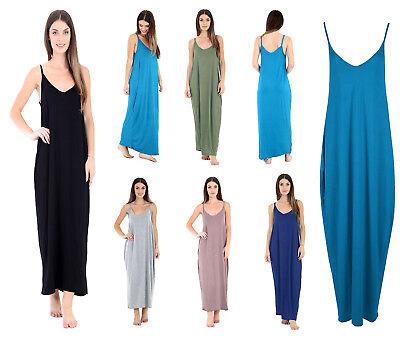 Ladies Stripe Print Cami Strappy Summer Maxi Dress Size UK 8-26 Womens