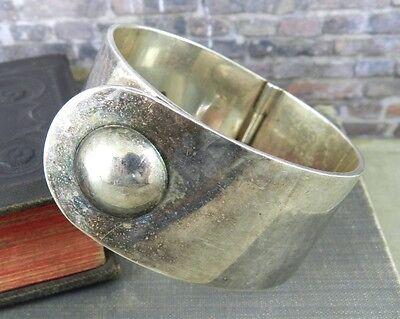 Modernist Puig Doria Spain 950 Silver Hinged Bracelet