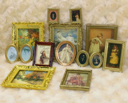 112 Dollhouse Miniature Framed Wall Painting Home Decor Room Items Lot 3 items