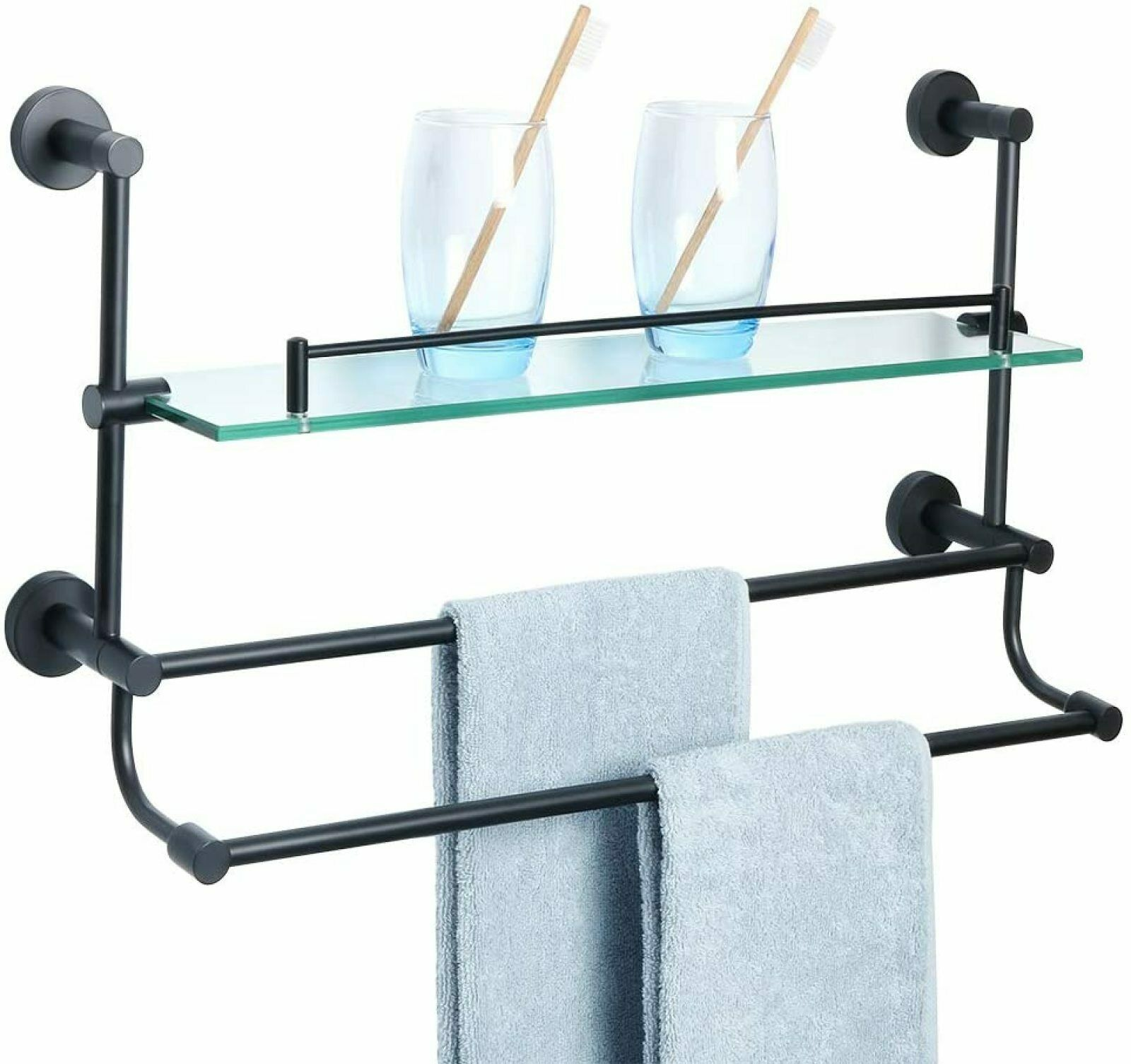 Picture of: Bathroom Shelves Shower Glass Shelf Towel Bar Wall Mount Rack Storage Stainless For Sale Online
