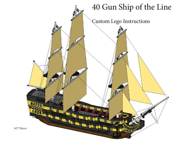 40 Gun Ship Of The Line Instructions Only Custom Lego Pirate