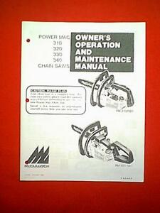 mcculloch power mac 310 320 330 340 owners repair parts