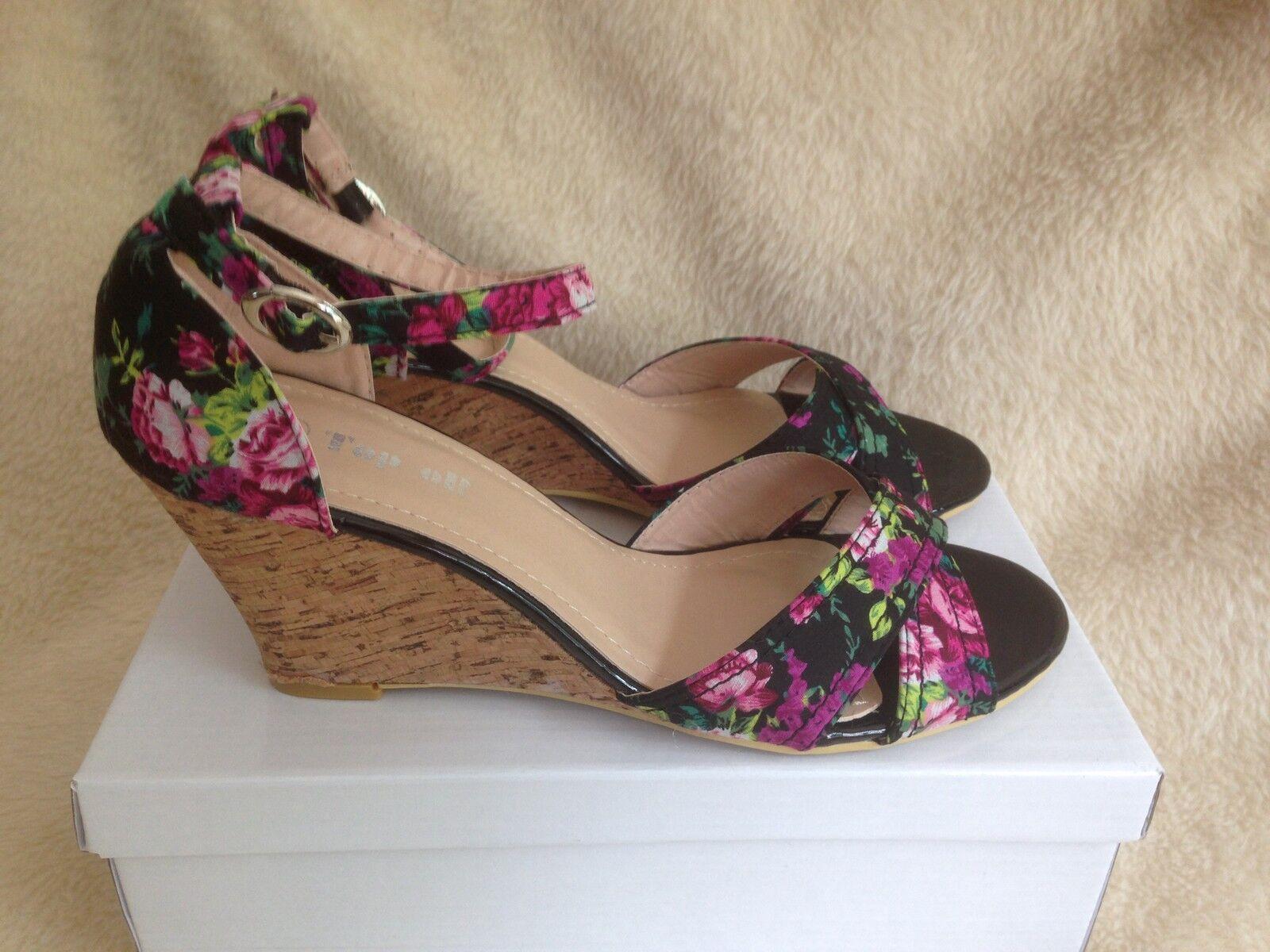 Damen Keilsandaletten Strass Blumen Keilabsatz Riemchensandaletten 817565 Schuhe
